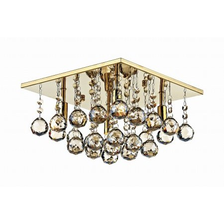 Dar Lighting - Abacus 4 Light 300MM G9 Square Flush Gold