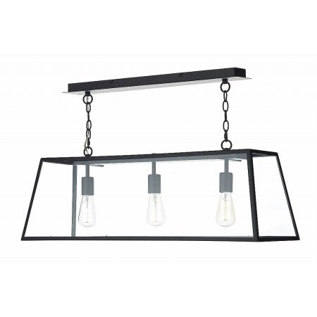 Dar Lighting - Academy 3 Light Pendant Black