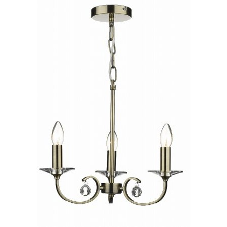 Dar Lighting - Allegra 3 Light Pendant Antique Brass