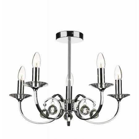 Dar Lighting - Allegra 5 Light Dual Mount Pendant Polished Chrome