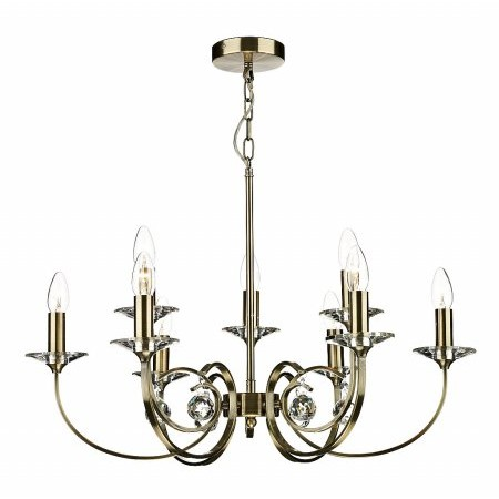 Dar Lighting - Allegra 9 Light Dual Mount Pendant Antique Brass