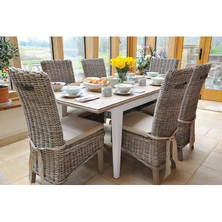 The Smith Collection - Lulworth Ext Dining Table  plus Rattan Chairs