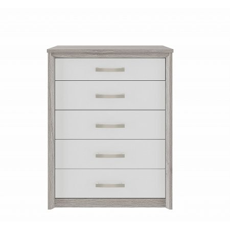 Kingstown - Cosmos 5 Drawer Chest Oak  plus White