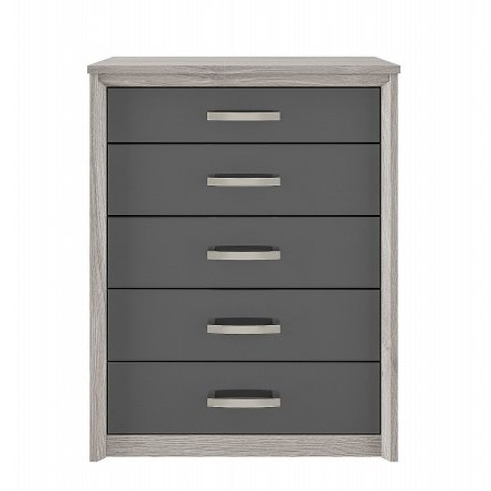 Kingstown - Cosmos 5 Drawer Chest Oak  plus Graphite