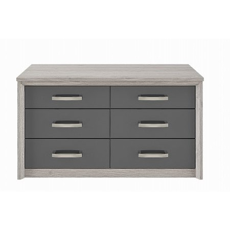 Kingstown - Cosmos 6 Drawer Chest Oak  plus Graphite