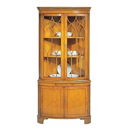 Bevan Funnell - Yew Bow Front Corner Cabinet